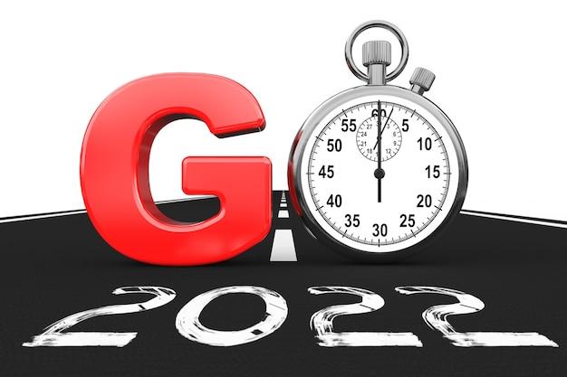 Nieuw 2022 jaarconcept. stopwatch als go sign over 2022 new year road op een witte achtergrond. 3d-rendering
