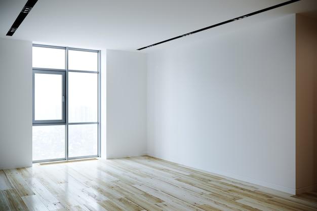 Nieuw appartement met houten lambrisering en sierpleister. 3d-weergave