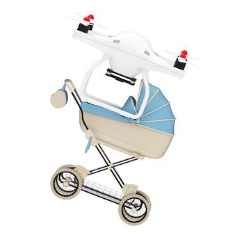 Nieuw baby geboren concept. luchtdrone die moderne blauwe kinderwagen, kinderwagen, kinderwagen op een witte achtergrond levert. 3d-rendering