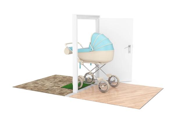 Nieuw baby geboren concept. moderne blauwe kinderwagen, kinderwagen, kinderwagen komt door de deuren naar het huis op een witte achtergrond. 3d-rendering