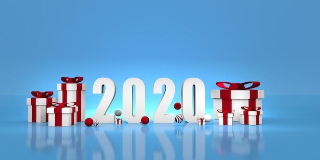 Nieuw jaar 2020. 3d illustratie