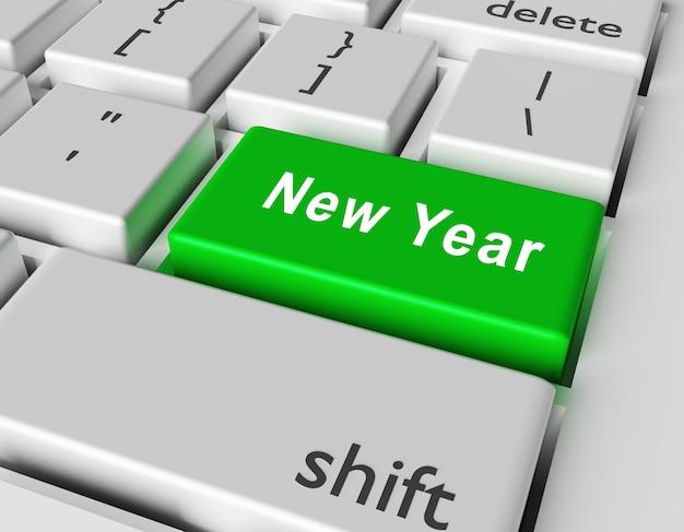 Nieuw jaar in een sleutel van een computertoetsenbord.