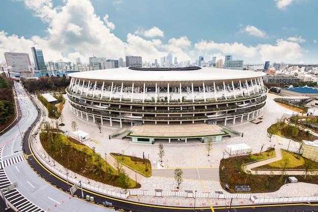 Nieuw nationaal stadion in aanbouw voor tokyo olympic 2020, tokyo, japan - 26 januari 2020