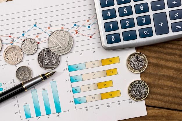 Nieuw pond met pen en rekenmachine op bedrijfsgrafiek