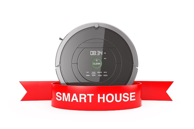 Nieuw reinigingstechnologieconcept. slimme robotstofzuiger met rood lint smart house teken op een witte achtergrond 3d-rendering