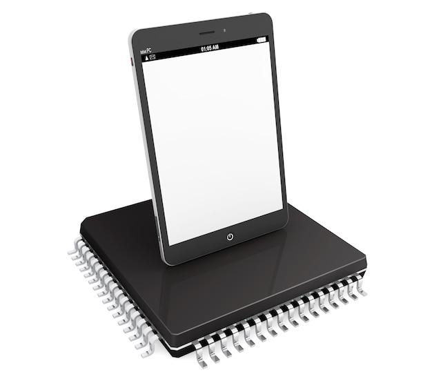 Nieuw technologieconcept. tablet-pc over microchip op een witte achtergrond