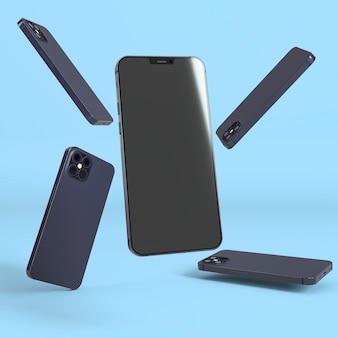 Nieuw telefoonconcept met blauwe achtergrond