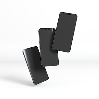 Nieuw telefoonconcept met zwevende smartphones