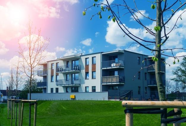 Nieuw woongebouw architectuur complex exterieur