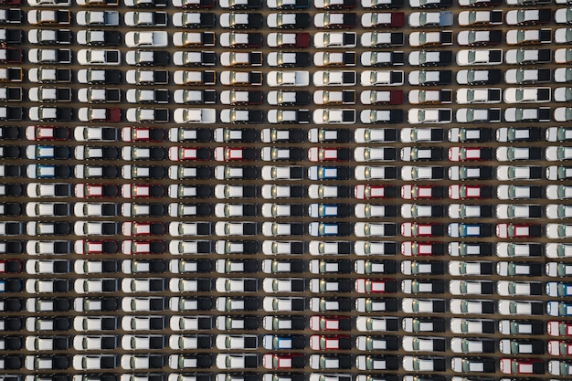 Nieuwe auto's opgesteld op de parkeerplaats voor internationale distributie voor zakelijke verkoop door grote corgo-containerschepen open zee