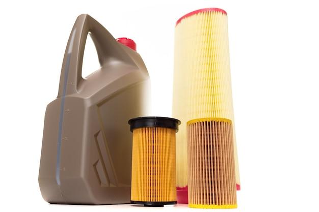 Nieuwe autoservice, olie en filter, tankstationconcept