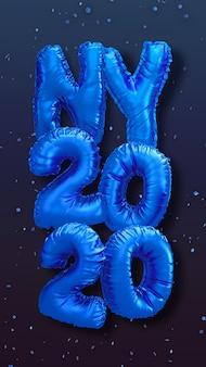 Nieuwe de ballons 3d teruggevende illustratie van de jaarfolie