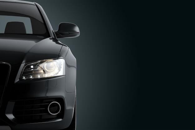 Nieuwe generieke luxe detail zwarte sportwagen rijden illustratie op een donkere ondergrond