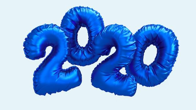 Nieuwe het jaar 3d teruggevende illustratie van 2020. blauwe metaalfolie nummers letters vliegen in de lucht.