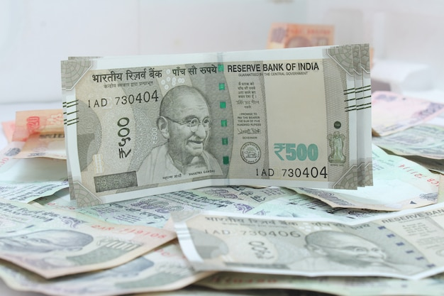 Nieuwe indiase valuta van roepies 500.