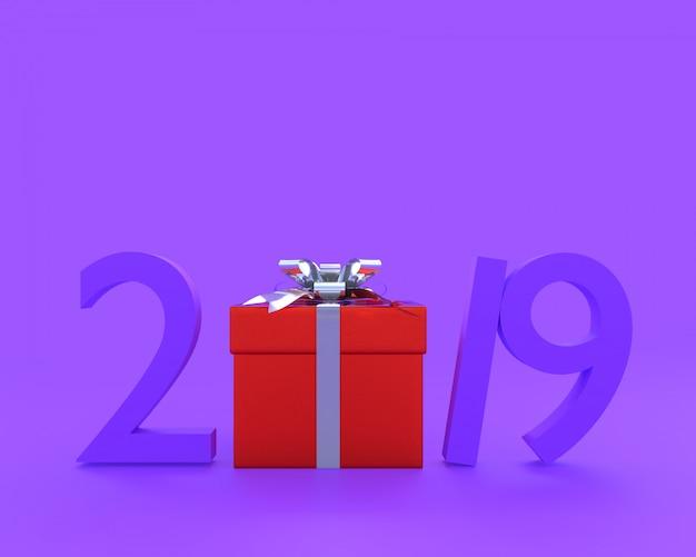 Nieuwe jaar 2019 concept paarse kleur en rode gjift doos