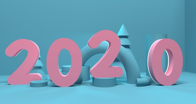Nieuwe jaar 2020 3d-diepte en realisme achtergrond. 3d-weergave