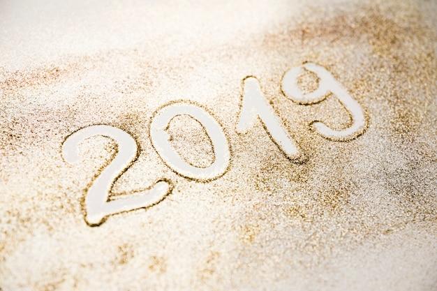 Nieuwe jaarachtergrond met 2019 cijfers