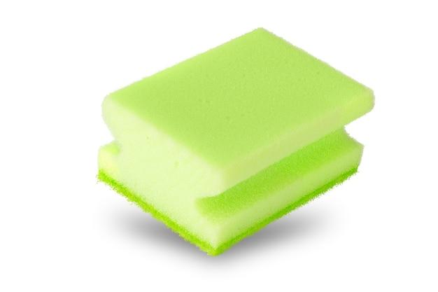 Nieuwe spons voor afwas geïsoleerd op witte achtergrond