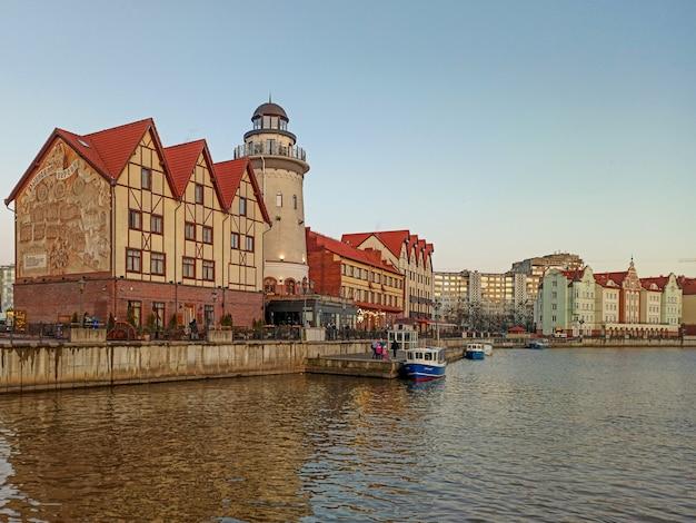Nieuwe wijk in de oude pruisische stijl - fish village in kaliningrad