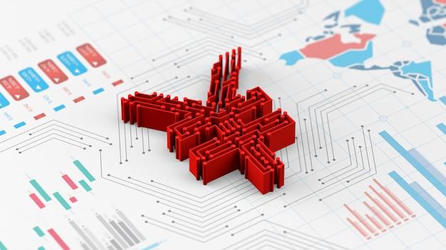 Nieuwe yuan digitale valuta van china op economie grafiek grafiek