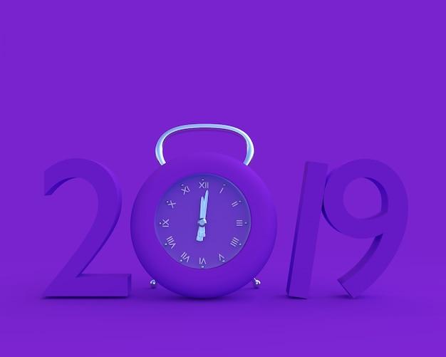 Nieuwjaar 2019 concept en klok paarse kleur.