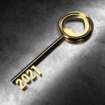 Nieuwjaar 2021 met gouden sleutel - 3d-rendering