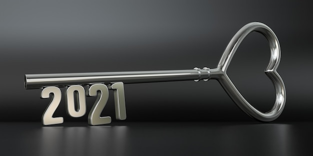 Nieuwjaar 2021 met zilveren sleutel - 3d-rendering