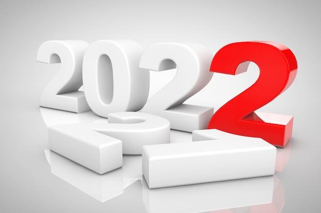 Nieuwjaar 2022 3d teken op een grijze achtergrond. 3d-rendering