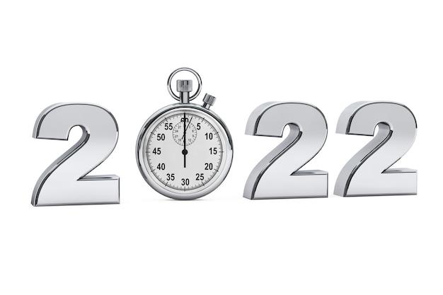 Nieuwjaar 2022-concept. 2022 stalen bord met stopwatch op een witte achtergrond. 3d-rendering