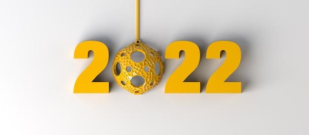 Nieuwjaar 2022 met kerstbal. feestelijke kerstbanner. 3d illustratie.