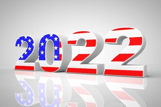 Nieuwjaar 2022 teken als vlag van de vs op een grijze achtergrond. 3d-rendering