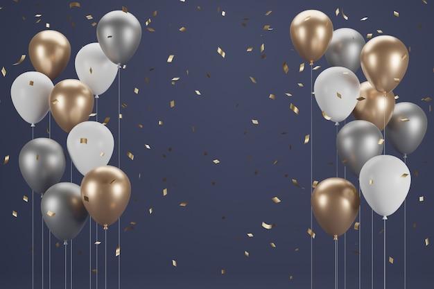 Nieuwjaar ballon en confetti. banner ontwerp. 3d illustratie