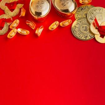 Nieuwjaar chinees 2021 kopie ruimte rode achtergrond