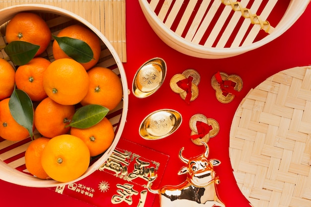 Nieuwjaar chinees 2021 sinaasappelen en os