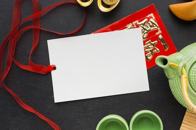 Nieuwjaar chinese 2021 theepot en kopieerruimte papier