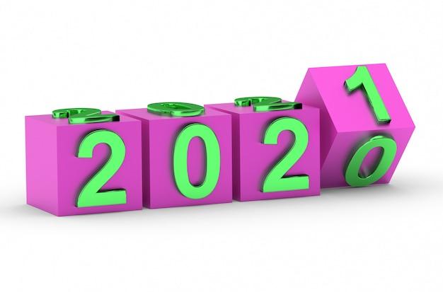 Nieuwjaar concept. blokjes met nummer 2021 vervangen 2020