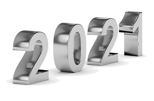 Nieuwjaar en feest concept. grijs nummer 2021 geïsoleerd op wit. 3d-weergave