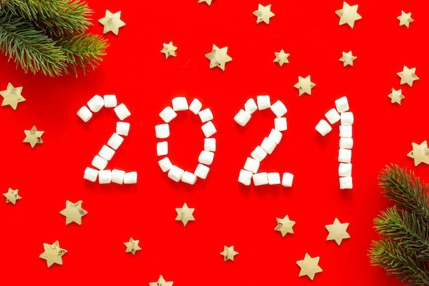 Nieuwjaar en kerstmis. sjabloon wenskaart 2021