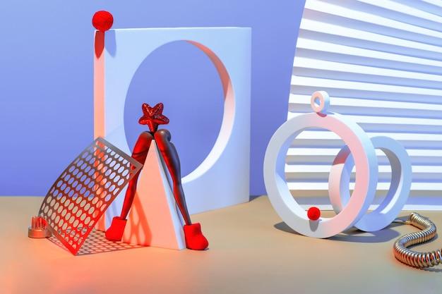 Nieuwjaar en kerstmissamenstelling met geometrische vormen en abstracte kerstboom met een ster en vilten laarzen, feestelijk concept.