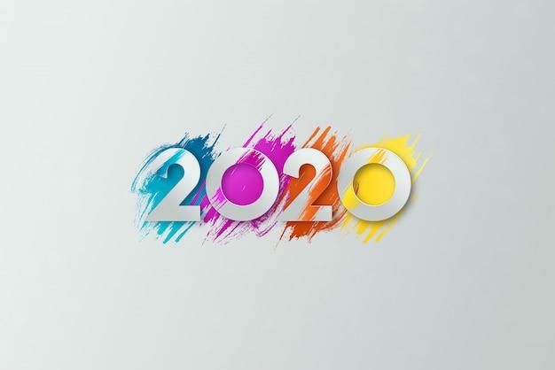 Nieuwjaar inscriptie 2020 op een lichte achtergrond.