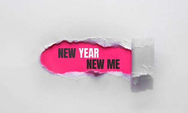 Nieuwjaar nieuw ik, nieuwjaar positief citaat op gescheurd papier