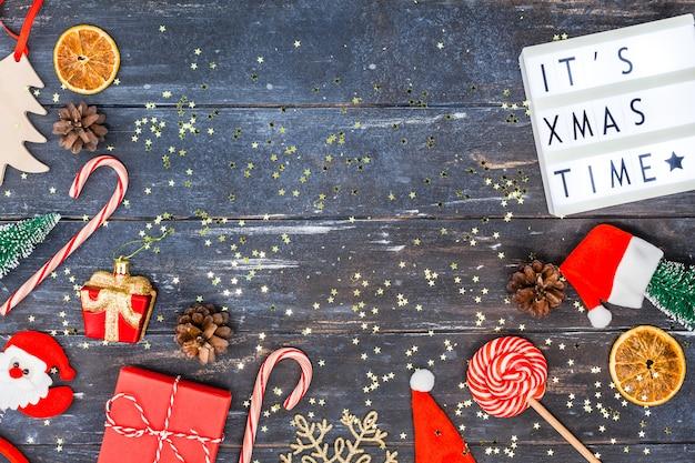 Nieuwjaar of kerst decoratie plat lag