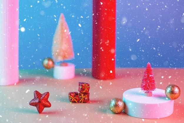 Nieuwjaarsamenstelling met kerstbomen Premium Foto