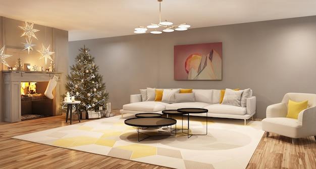 Nieuwjaarsboom in klassieke eetkamer woonkamer interieur kerstavonddecoratie