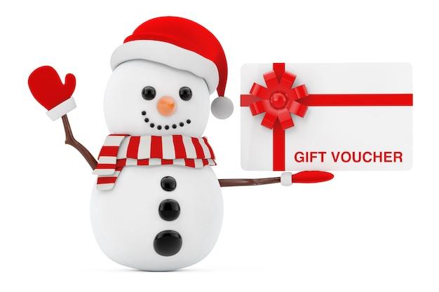 Nieuwjaarsconcept. sneeuwpop met cadeaubon op een witte achtergrond. 3d-rendering