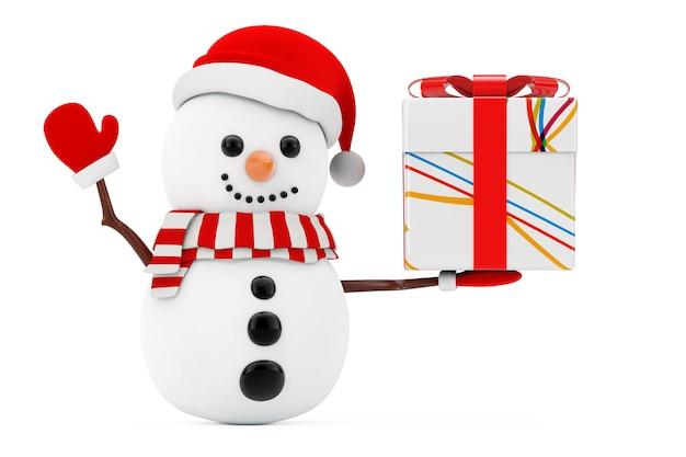 Nieuwjaarsconcept. sneeuwpop met kerst gestripte witte geschenkdoos met rode strik op een witte achtergrond. 3d-rendering