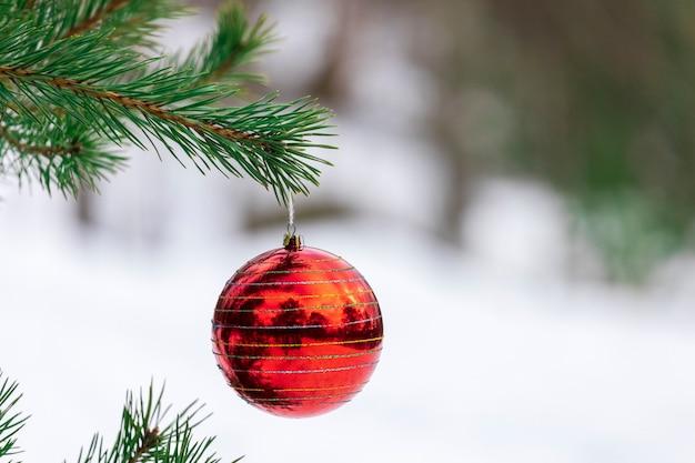 Nieuwjaarsdecoratie hangt aan een kerstboom in de natuur. hoge kwaliteit foto
