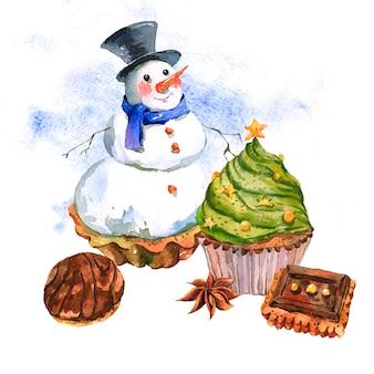 Nieuwjaarskaart met sneeuwpop cupcakes