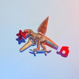Nieuwjaarsverhaal over hoe een gouden dinosaurus een kerstboom stal met een zaag en een ster op een skateboard, een kerstconcept.